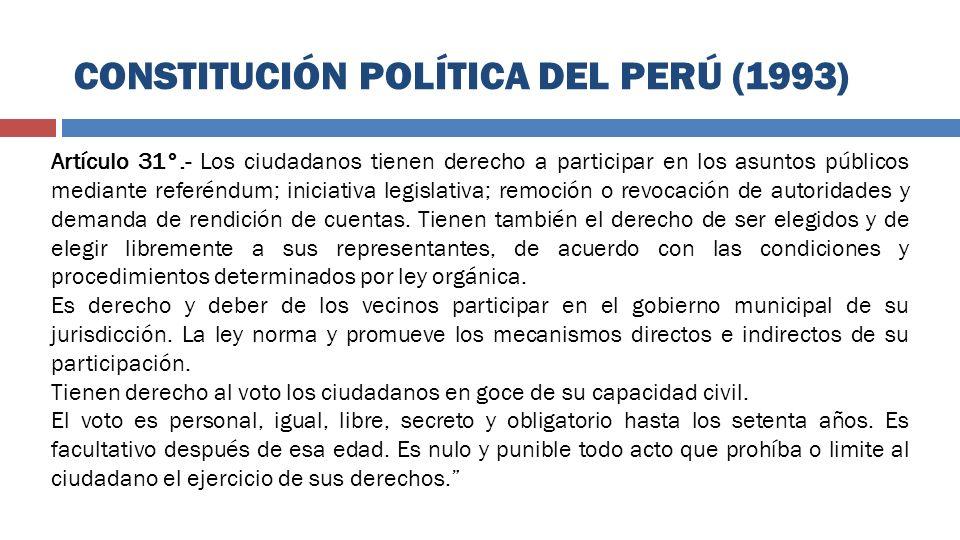 Artículo 31°.- Los ciudadanos tienen derecho a participar en los asuntos públicos mediante referéndum; iniciativa legislativa; remoción o revocación d