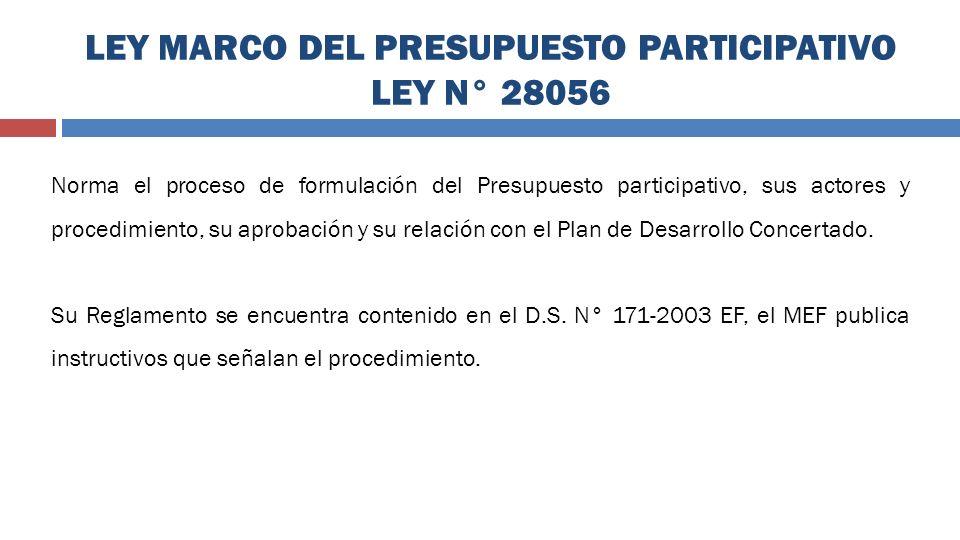 LEY MARCO DEL PRESUPUESTO PARTICIPATIVO LEY N° 28056 Norma el proceso de formulación del Presupuesto participativo, sus actores y procedimiento, su ap