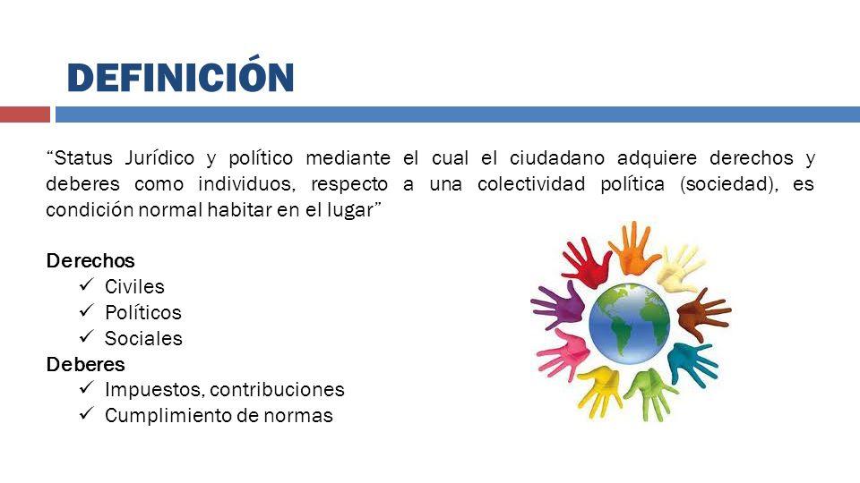 DEFINICIÓN Status Jurídico y político mediante el cual el ciudadano adquiere derechos y deberes como individuos, respecto a una colectividad política