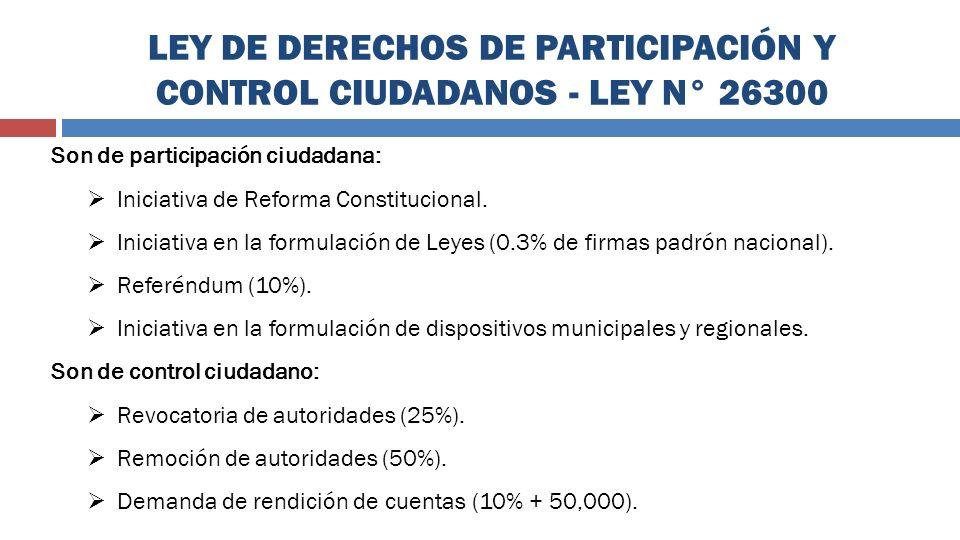 LEY DE DERECHOS DE PARTICIPACIÓN Y CONTROL CIUDADANOS - LEY N° 26300 Son de participación ciudadana: Iniciativa de Reforma Constitucional. Iniciativa