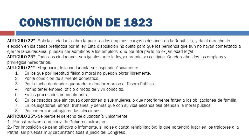 ARTICULO 22º.- Solo la ciudadanía abre la puerta a los empleos, cargos o destinos de la República, y da el derecho de elección en los casos prefijados
