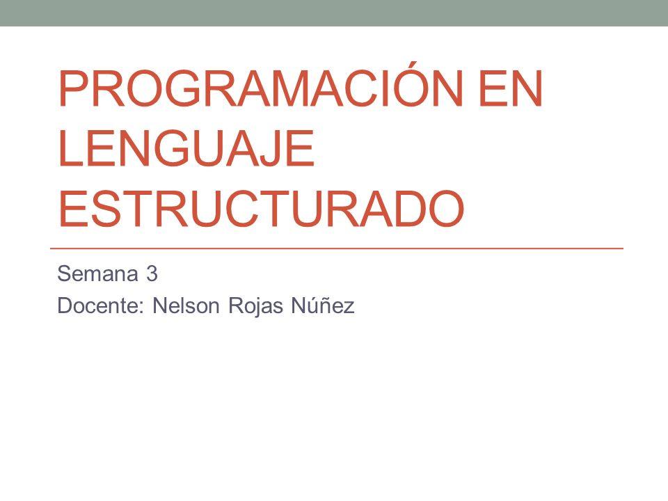 PROGRAMACIÓN EN LENGUAJE ESTRUCTURADO Semana 3 Docente: Nelson Rojas Núñez