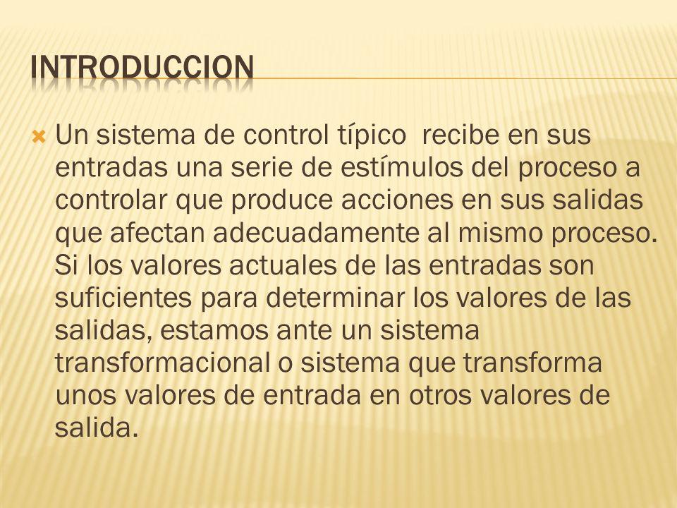 Un sistema de control típico recibe en sus entradas una serie de estímulos del proceso a controlar que produce acciones en sus salidas que afectan ade