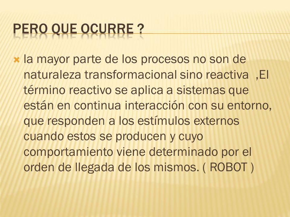 la mayor parte de los procesos no son de naturaleza transformacional sino reactiva,El término reactivo se aplica a sistemas que están en continua inte