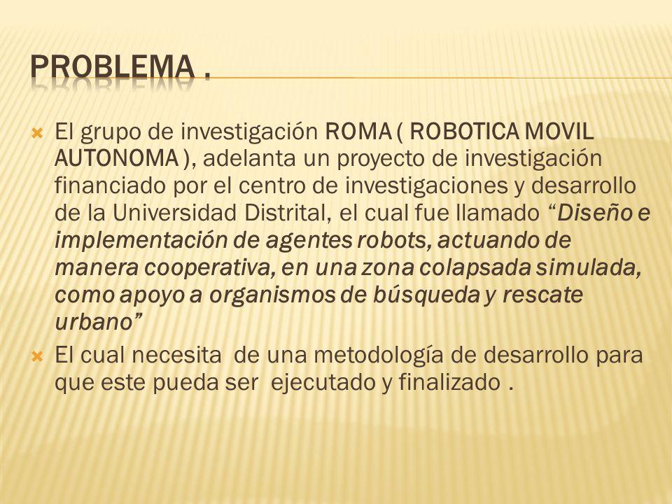 El grupo de investigación ROMA ( ROBOTICA MOVIL AUTONOMA ), adelanta un proyecto de investigación financiado por el centro de investigaciones y desarr