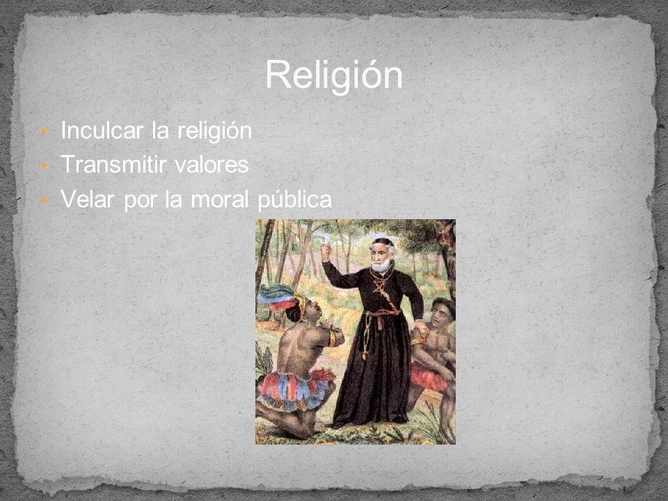 Inculcar la religión Transmitir valores Velar por la moral pública Religión