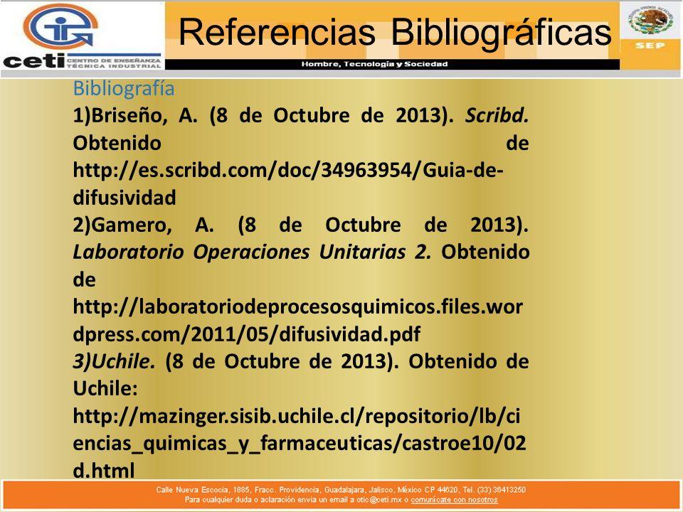 Referencias Bibliográficas Bibliografía 1)Briseño, A.