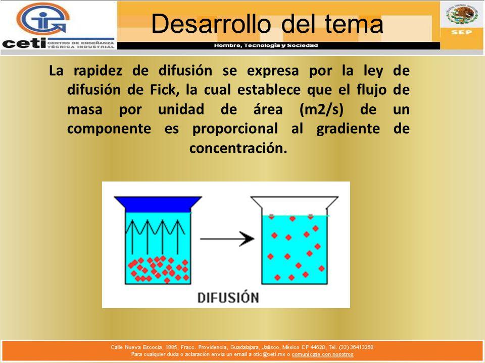 Desarrollo del tema La rapidez de difusión se expresa por la ley de difusión de Fick, la cual establece que el flujo de masa por unidad de área (m2/s) de un componente es proporcional al gradiente de concentración.
