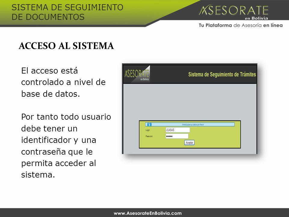 ACCESO AL SISTEMA El acceso está controlado a nivel de base de datos. Por tanto todo usuario debe tener un identificador y una contraseña que le permi