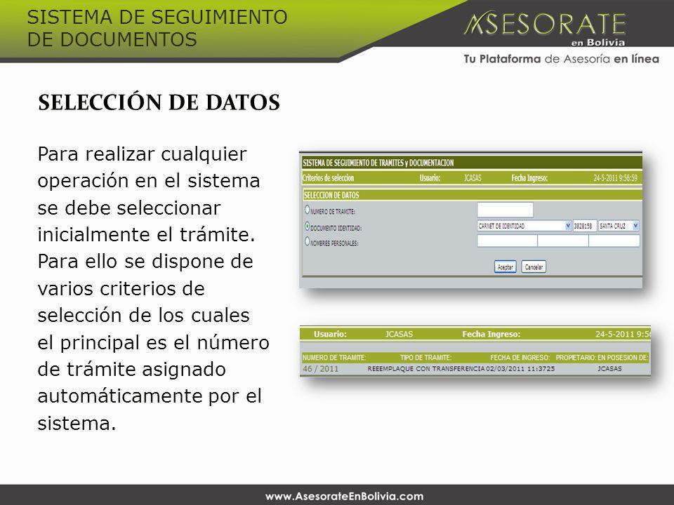 SELECCIÓN DE DATOS Para realizar cualquier operación en el sistema se debe seleccionar inicialmente el trámite.