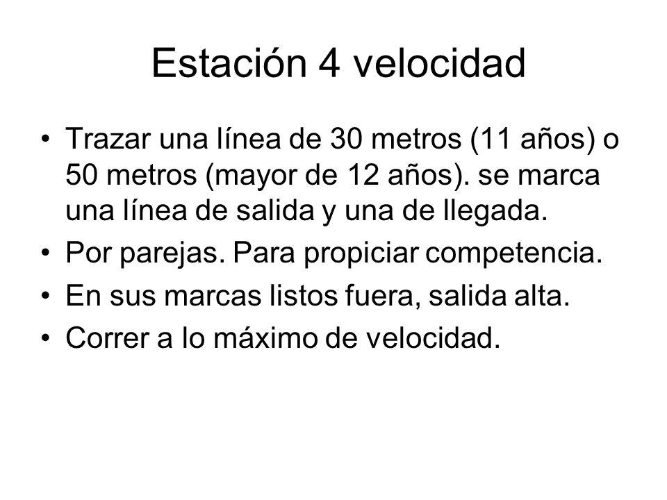 Estación 4 velocidad Trazar una línea de 30 metros (11 años) o 50 metros (mayor de 12 años). se marca una línea de salida y una de llegada. Por pareja