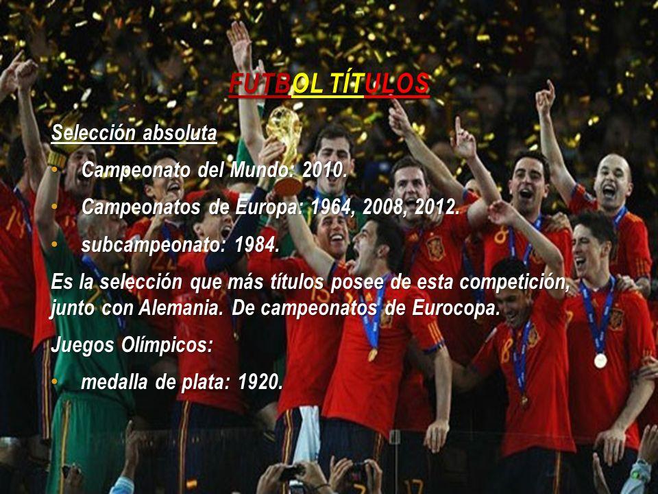 FUTBOL TÍTULOS Selección absoluta Campeonato del Mundo: 2010. Campeonato del Mundo: 2010. Campeonatos de Europa: 1964, 2008, 2012. Campeonatos de Euro