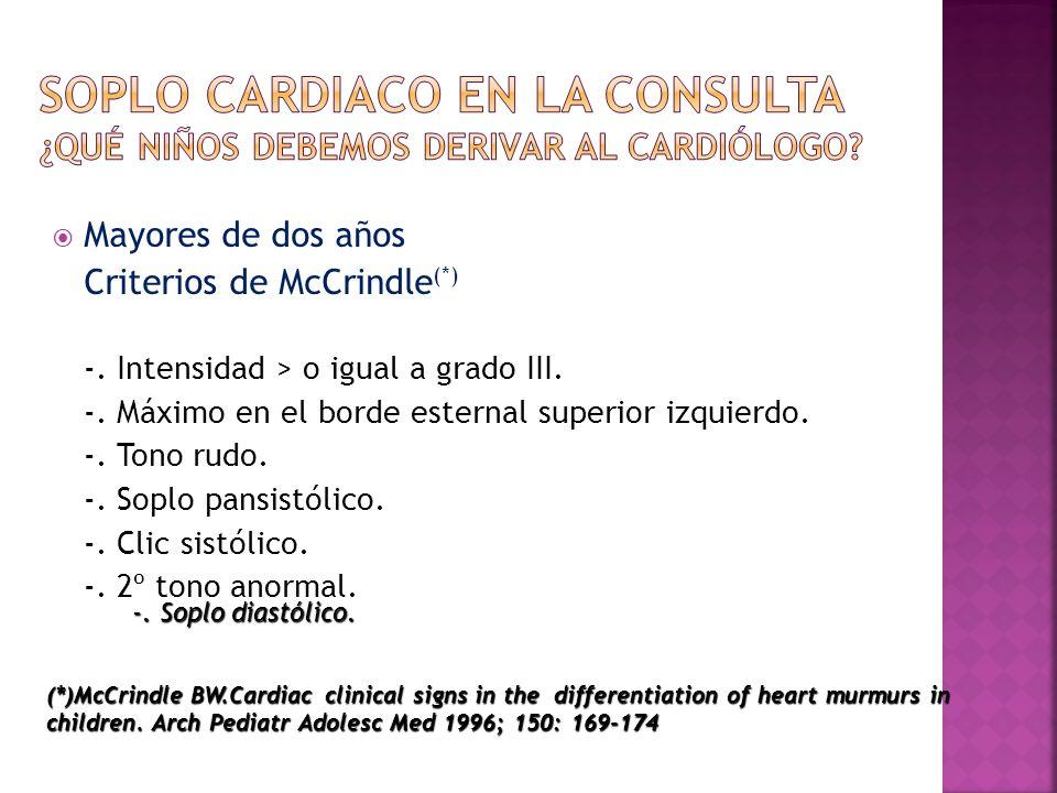 Mayores de dos años Criterios de McCrindle (*) -. Intensidad > o igual a grado III. -. Máximo en el borde esternal superior izquierdo. -. Tono rudo. -