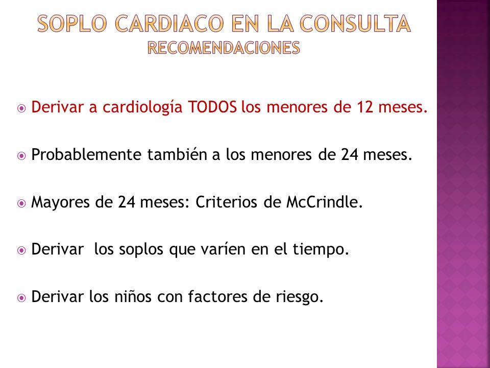 Derivar a cardiología TODOS los menores de 12 meses. Probablemente también a los menores de 24 meses. Mayores de 24 meses: Criterios de McCrindle. Der