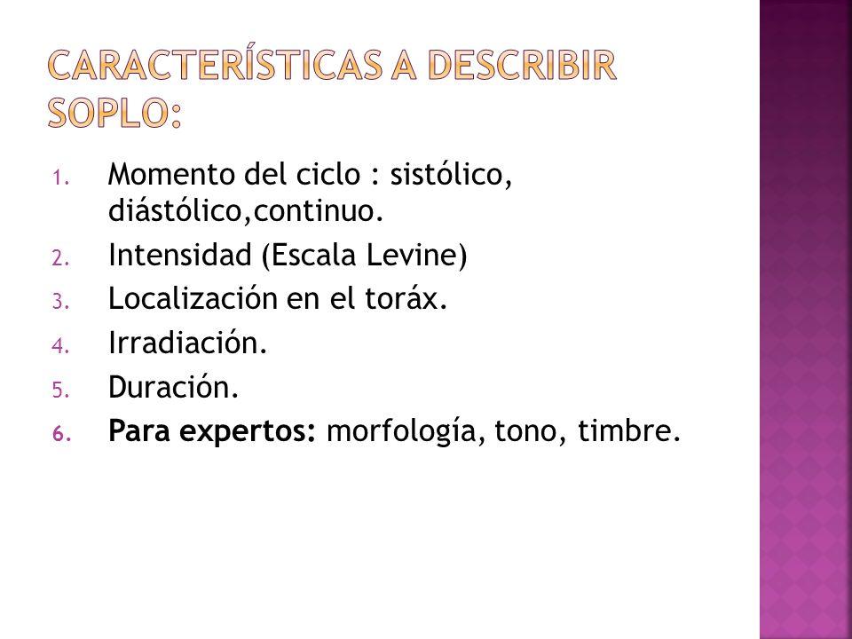 1. Momento del ciclo : sistólico, diástólico,continuo. 2. Intensidad (Escala Levine) 3. Localización en el toráx. 4. Irradiación. 5. Duración. 6. Para