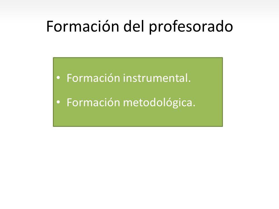 Formación del profesorado Formación instrumental. Formación metodológica.