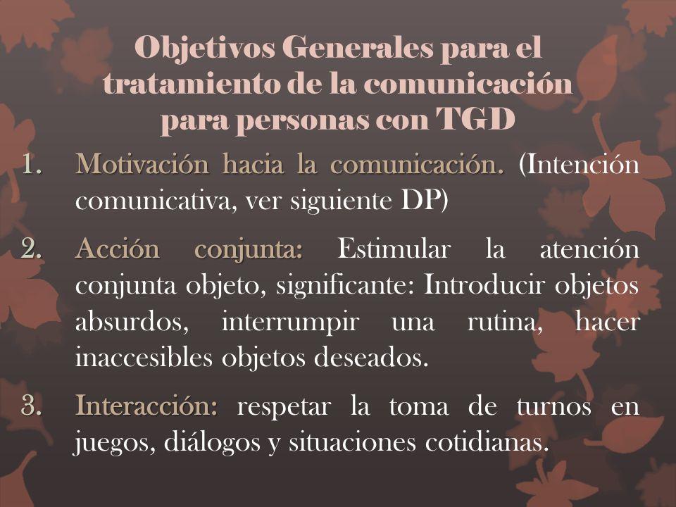 Objetivos Generales para el tratamiento de la comunicación para personas con TGD 1.Motivación hacia la comunicación. 1.Motivación hacia la comunicació