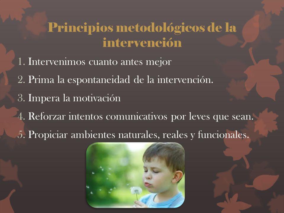Principios metodológicos de la intervención 1.Intervenimos cuanto antes mejor 2.Prima la espontaneidad de la intervención. 3.Impera la motivación 4.Re