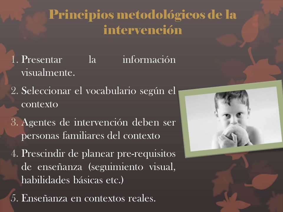 Principios metodológicos de la intervención 1.Presentar la información visualmente. 2.Seleccionar el vocabulario según el contexto 3.Agentes de interv