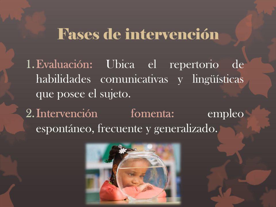 Fases de intervención 1.Evaluación: Ubica el repertorio de habilidades comunicativas y lingüísticas que posee el sujeto. 2.Intervención fomenta: emple