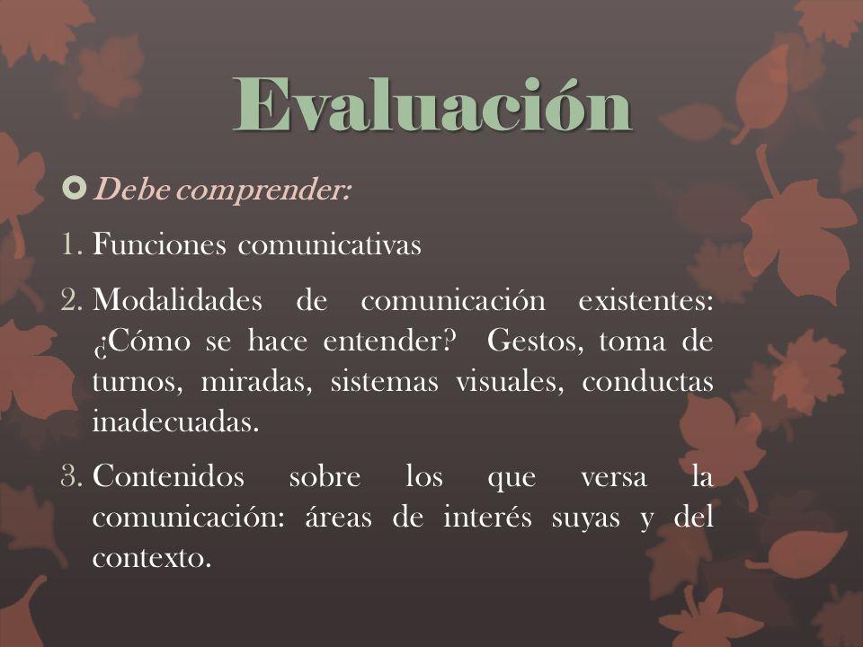 Evaluación Debe comprender: 1.Funciones comunicativas 2.Modalidades de comunicación existentes: ¿Cómo se hace entender? Gestos, toma de turnos, mirada