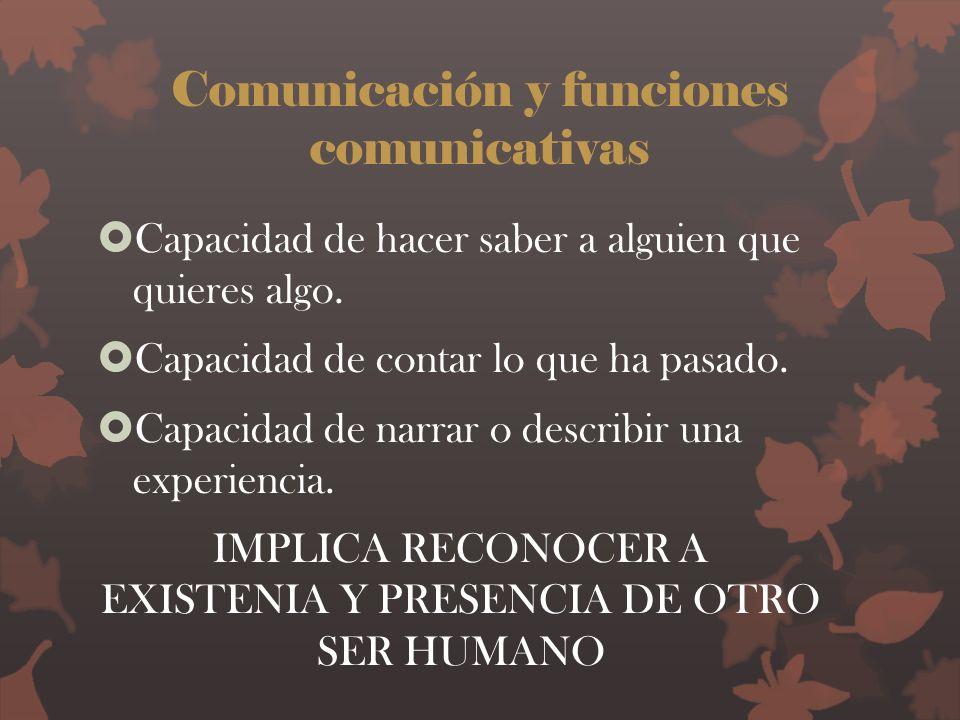 Comunicación y funciones comunicativas Capacidad de hacer saber a alguien que quieres algo. Capacidad de contar lo que ha pasado. Capacidad de narrar