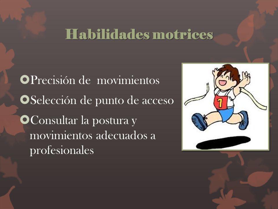 Habilidades motrices Precisión de movimientos Selección de punto de acceso Consultar la postura y movimientos adecuados a profesionales