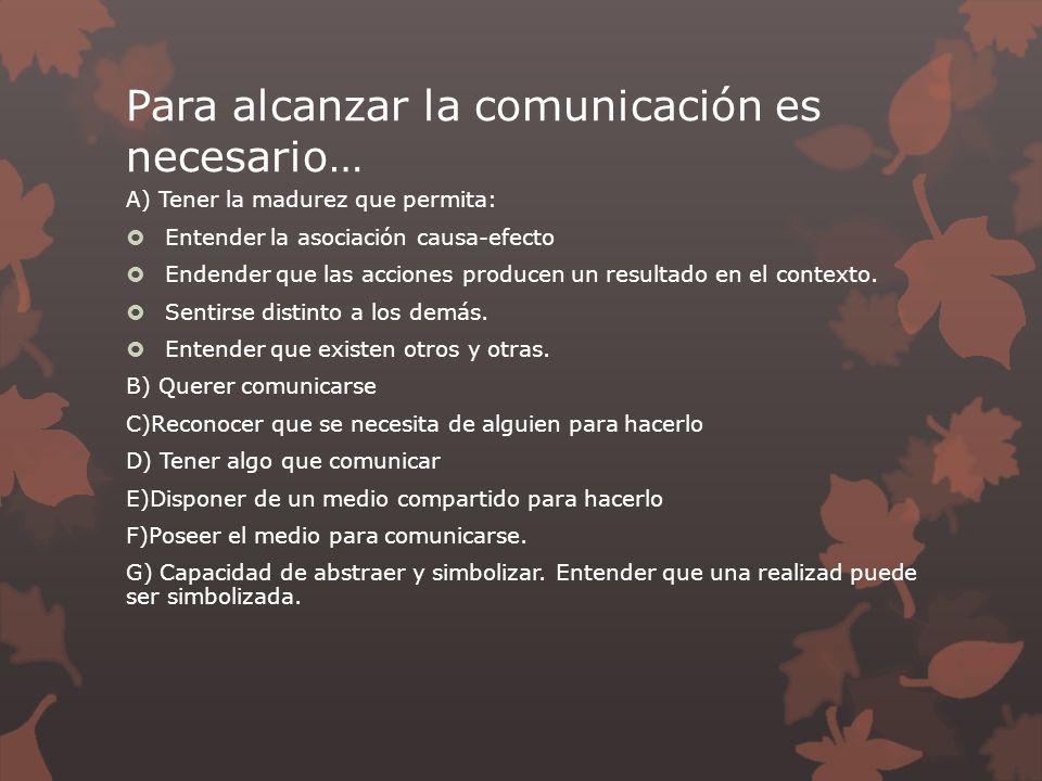 Para alcanzar la comunicación es necesario… A) Tener la madurez que permita: Entender la asociación causa-efecto Endender que las acciones producen un