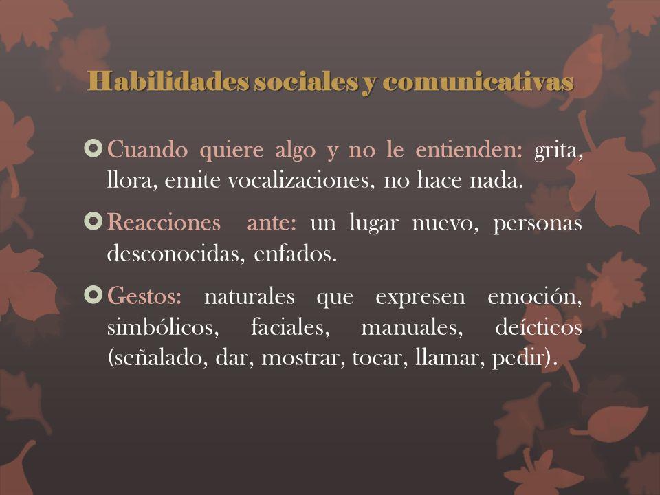 Habilidades sociales y comunicativas Cuando quiere algo y no le entienden: grita, llora, emite vocalizaciones, no hace nada. Reacciones ante: un lugar
