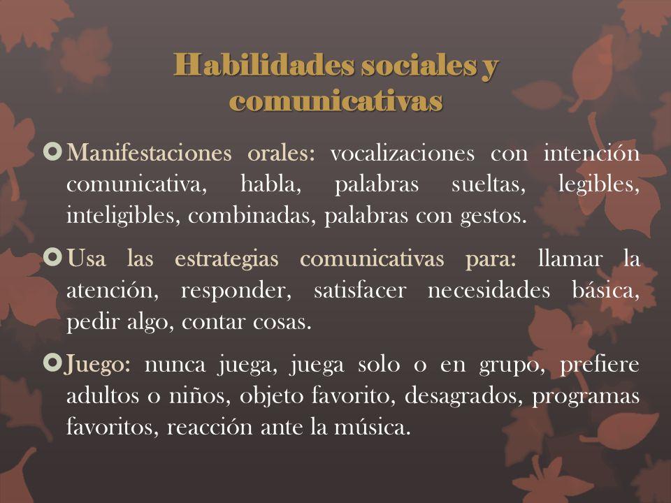 Habilidades sociales y comunicativas Manifestaciones orales: vocalizaciones con intención comunicativa, habla, palabras sueltas, legibles, inteligible