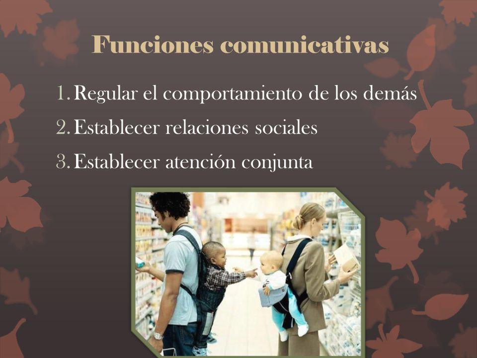 Funciones comunicativas 1.Regular el comportamiento de los demás 2.Establecer relaciones sociales 3.Establecer atención conjunta
