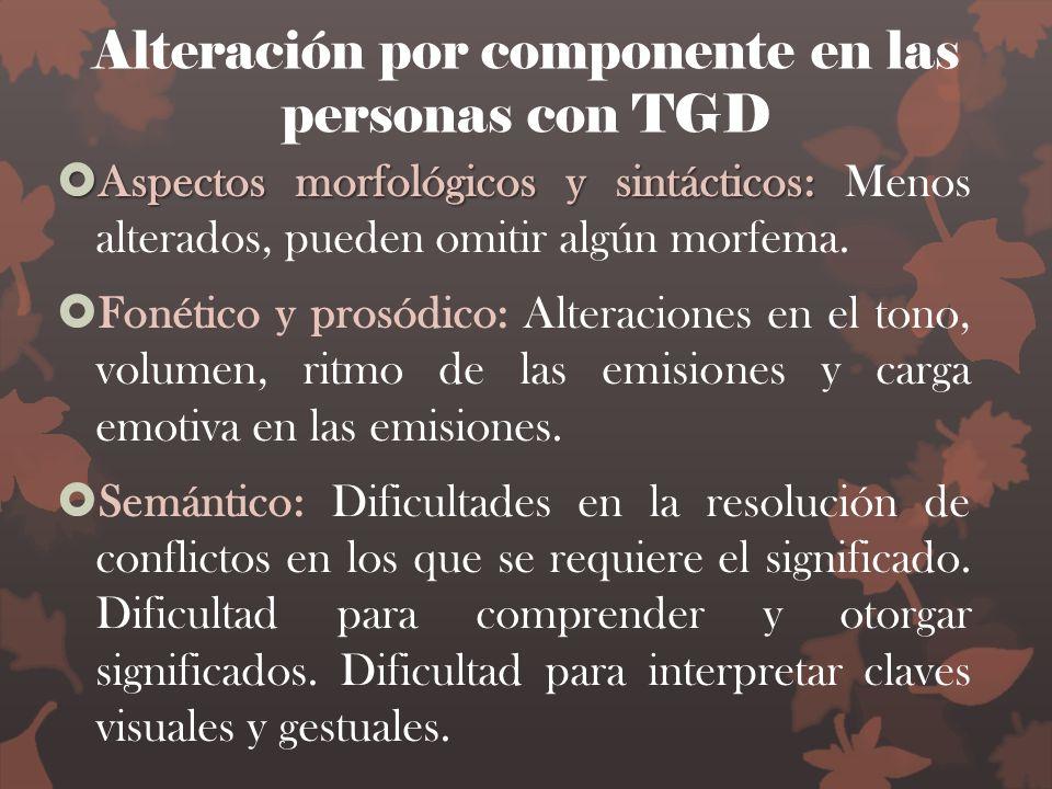 Alteración por componente en las personas con TGD Aspectos morfológicos y sintácticos: Aspectos morfológicos y sintácticos: Menos alterados, pueden om