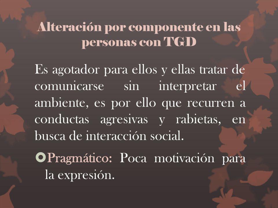 Alteración por componente en las personas con TGD Es agotador para ellos y ellas tratar de comunicarse sin interpretar el ambiente, es por ello que re