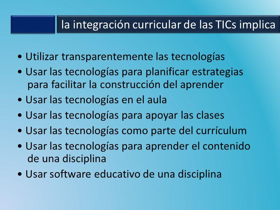 Utilizar transparentemente las tecnologías Usar las tecnologías para planificar estrategias para facilitar la construcción del aprender Usar las tecno