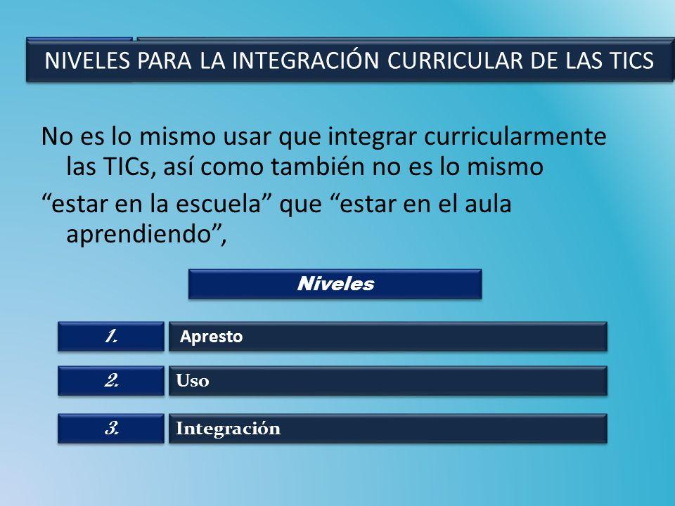 No es lo mismo usar que integrar curricularmente las TICs, así como también no es lo mismo estar en la escuela que estar en el aula aprendiendo, Apres