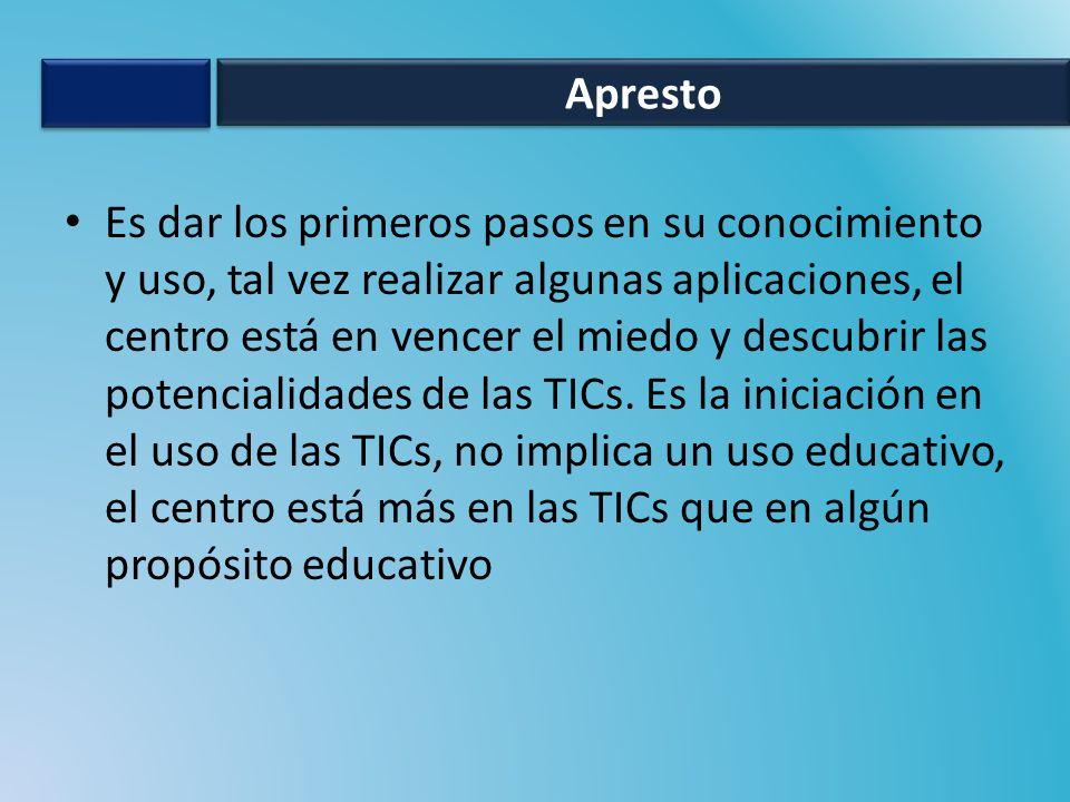 Es dar los primeros pasos en su conocimiento y uso, tal vez realizar algunas aplicaciones, el centro está en vencer el miedo y descubrir las potencialidades de las TICs.