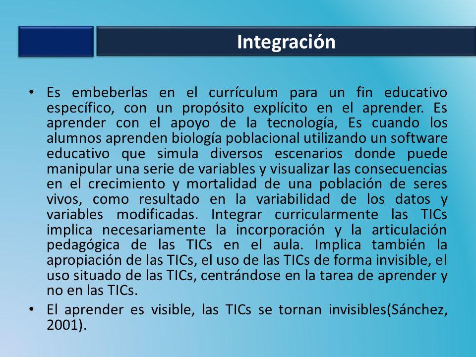 Es embeberlas en el currículum para un fin educativo específico, con un propósito explícito en el aprender. Es aprender con el apoyo de la tecnología,
