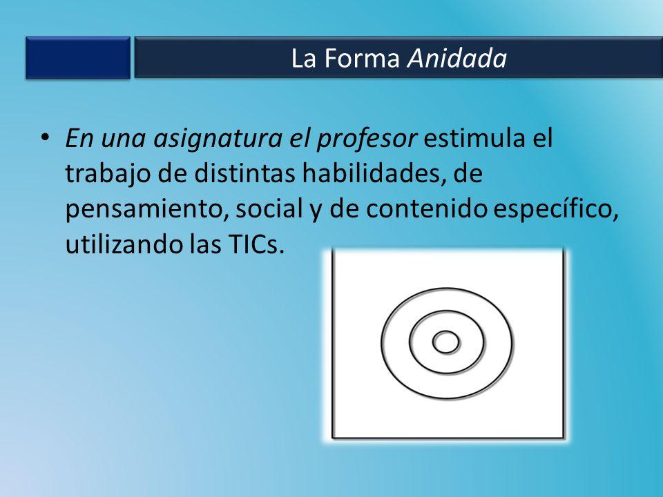 En una asignatura el profesor estimula el trabajo de distintas habilidades, de pensamiento, social y de contenido específico, utilizando las TICs.
