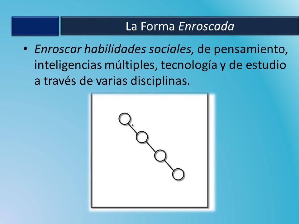 Enroscar habilidades sociales, de pensamiento, inteligencias múltiples, tecnología y de estudio a través de varias disciplinas.