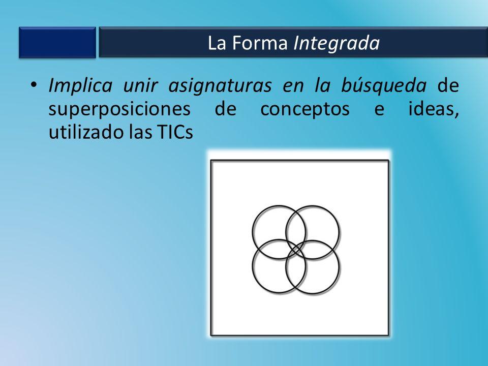Implica unir asignaturas en la búsqueda de superposiciones de conceptos e ideas, utilizado las TICs La Forma Integrada