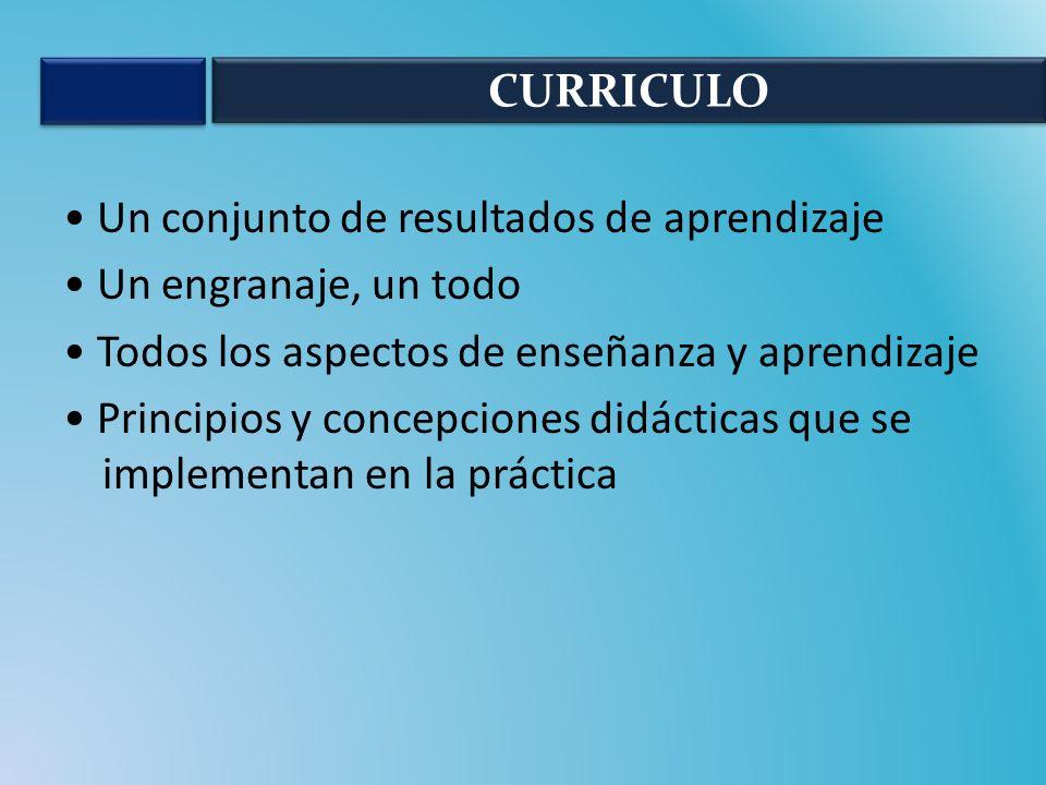 Un conjunto de resultados de aprendizaje Un engranaje, un todo Todos los aspectos de enseñanza y aprendizaje Principios y concepciones didácticas que se implementan en la práctica CURRICULO