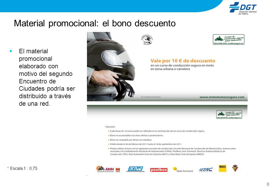Material promocional: el bono descuento 6 * Escala 1 : 0,75 El material promocional elaborado con motivo del segundo Encuentro de Ciudades podría ser distribuido a través de una red.