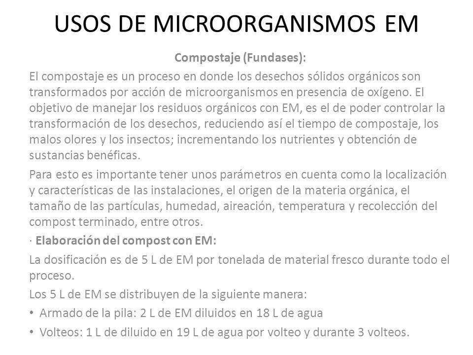 USOS DE MICROORGANISMOS EM Compostaje (Fundases): El compostaje es un proceso en donde los desechos sólidos orgánicos son transformados por acción de