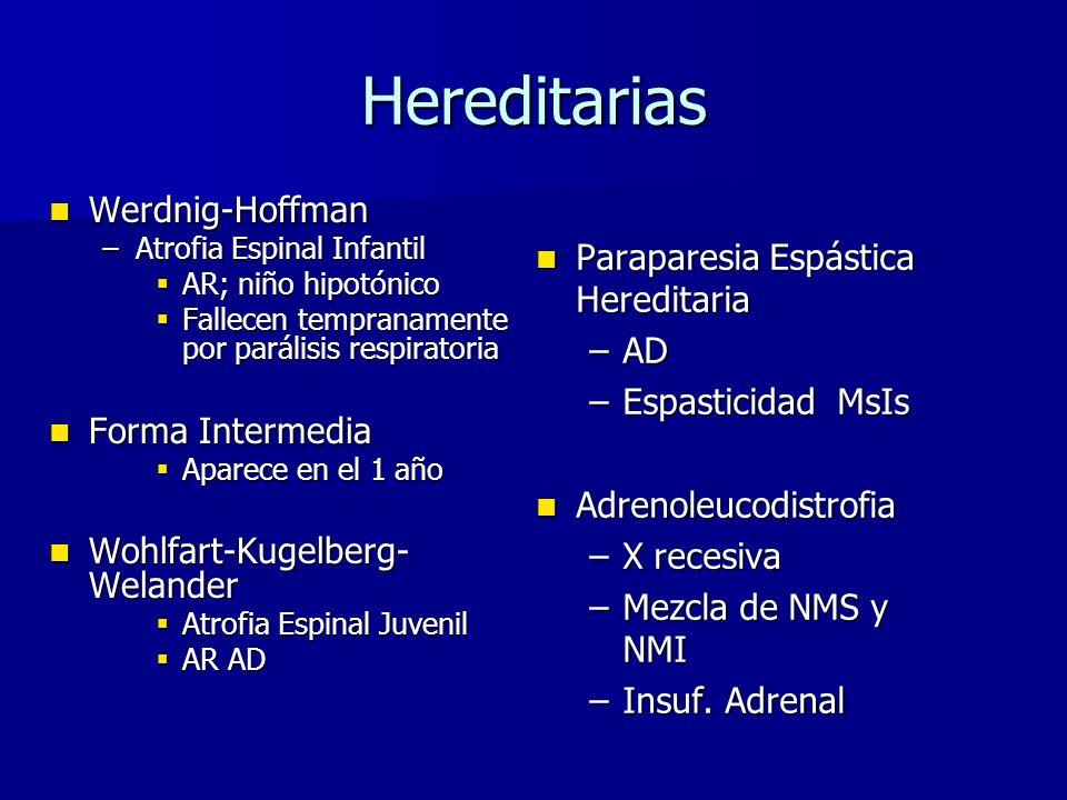 Hereditarias Werdnig-Hoffman Werdnig-Hoffman –Atrofia Espinal Infantil AR; niño hipotónico AR; niño hipotónico Fallecen tempranamente por parálisis re