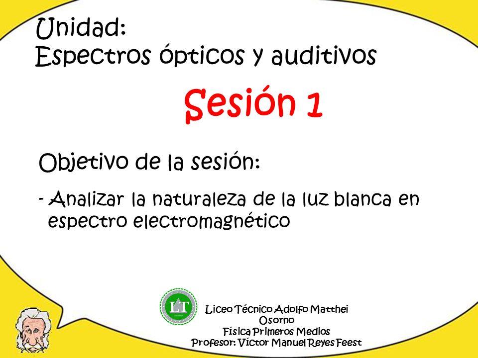 Objetivo de la sesión: - Analizar la naturaleza de la luz blanca en espectro electromagnético Liceo Técnico Adolfo Matthei Osorno Física Primeros Medi