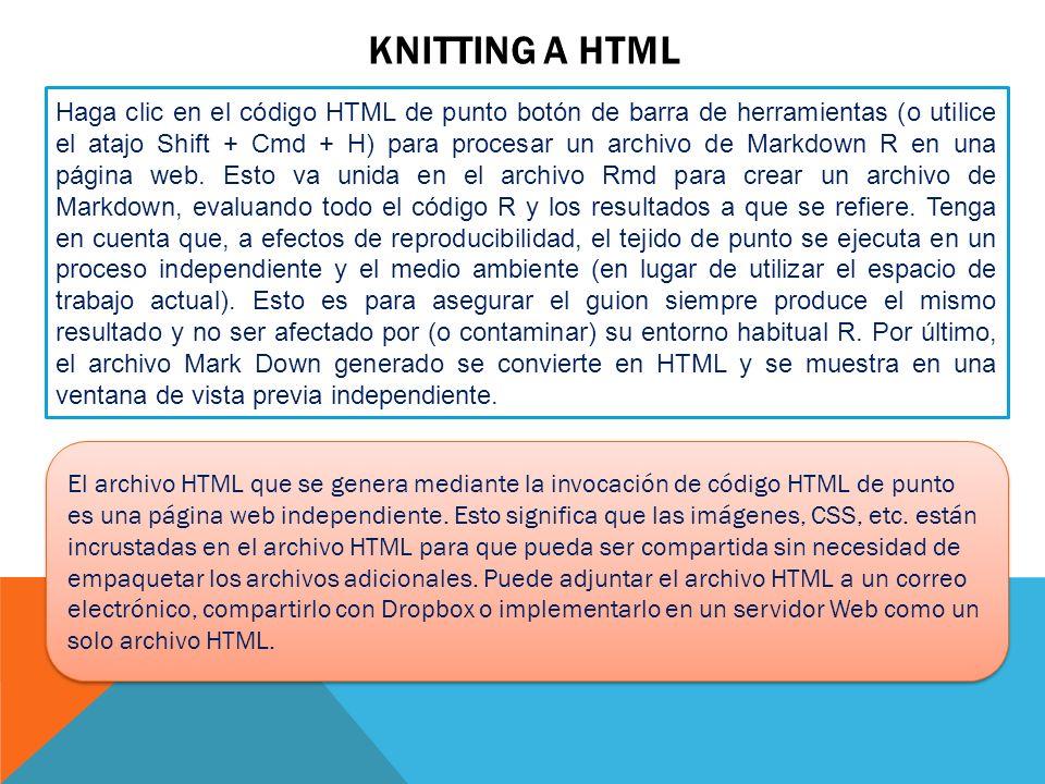 KNITTING A HTML Haga clic en el código HTML de punto botón de barra de herramientas (o utilice el atajo Shift + Cmd + H) para procesar un archivo de M
