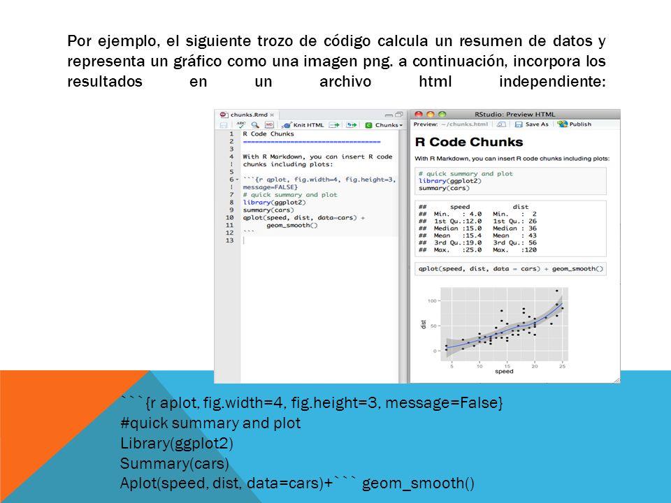 Por ejemplo, el siguiente trozo de código calcula un resumen de datos y representa un gráfico como una imagen png. a continuación, incorpora los resul