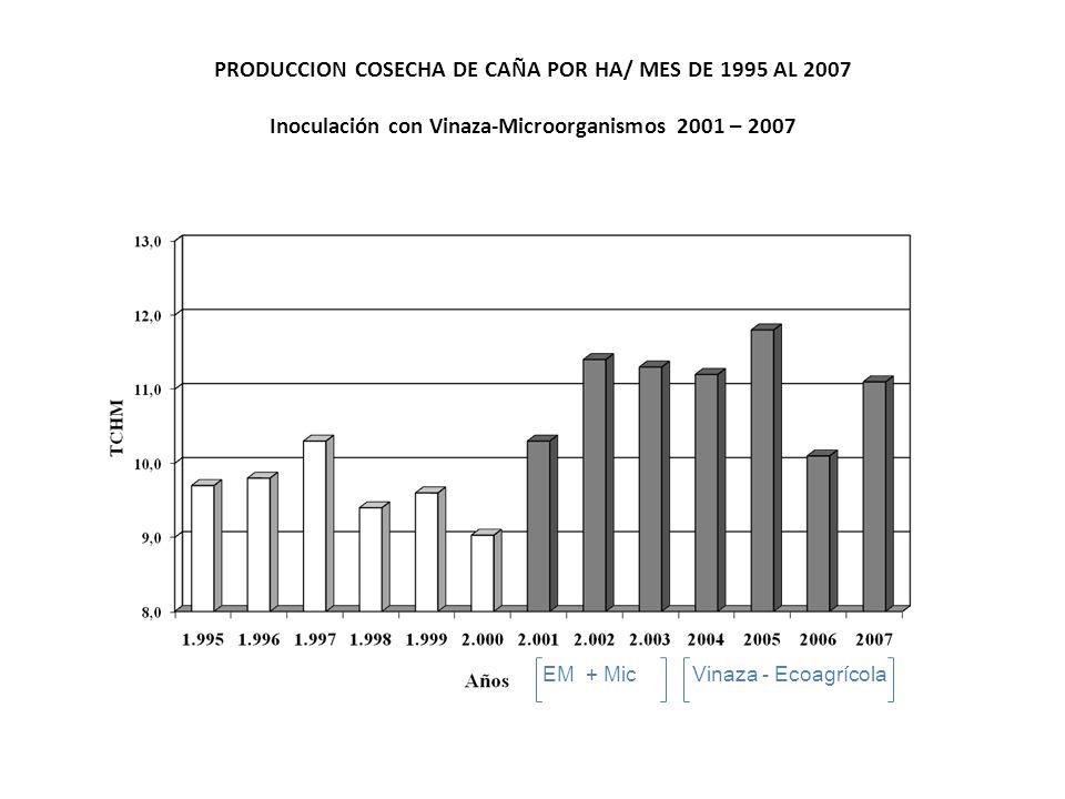 PRODUCCION COSECHA DE CAÑA POR HA/ MES DE 1995 AL 2007 Inoculación con Vinaza-Microorganismos 2001 – 2007 EM + Mic Vinaza - Ecoagrícola