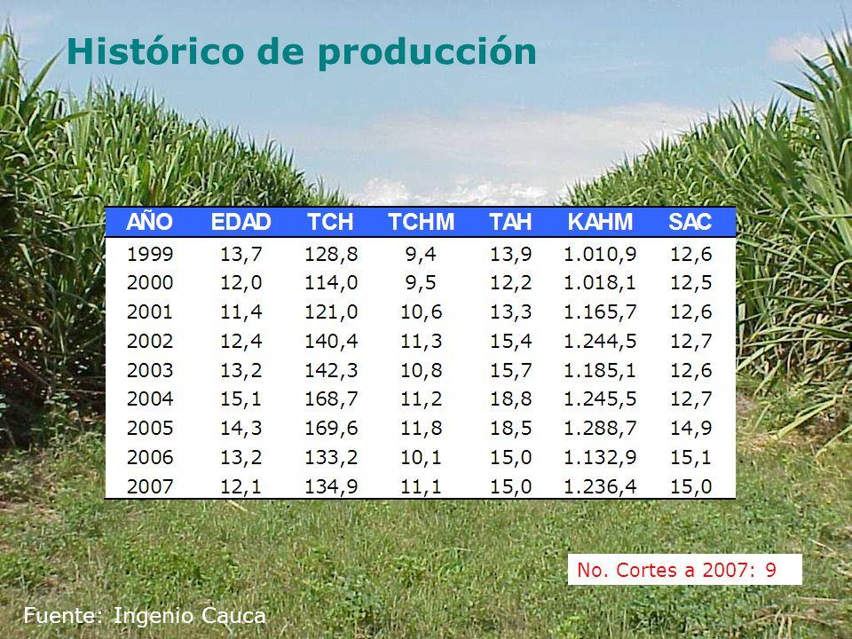 Histórico de producción Fuente: Ingenio Cauca No. Cortes a 2007: 9