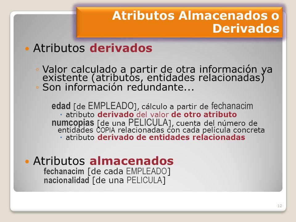 12 Atributos derivados Valor calculado a partir de otra información ya existente (atributos, entidades relacionadas) Son información redundante...